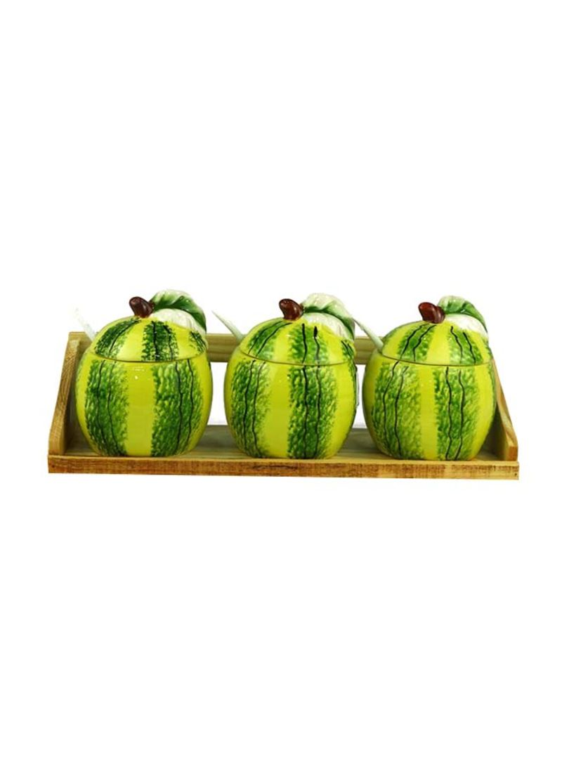 3-Pieces Decoration Watermelon Jar Sets With Wooden Stand Green 30X13 centimeter