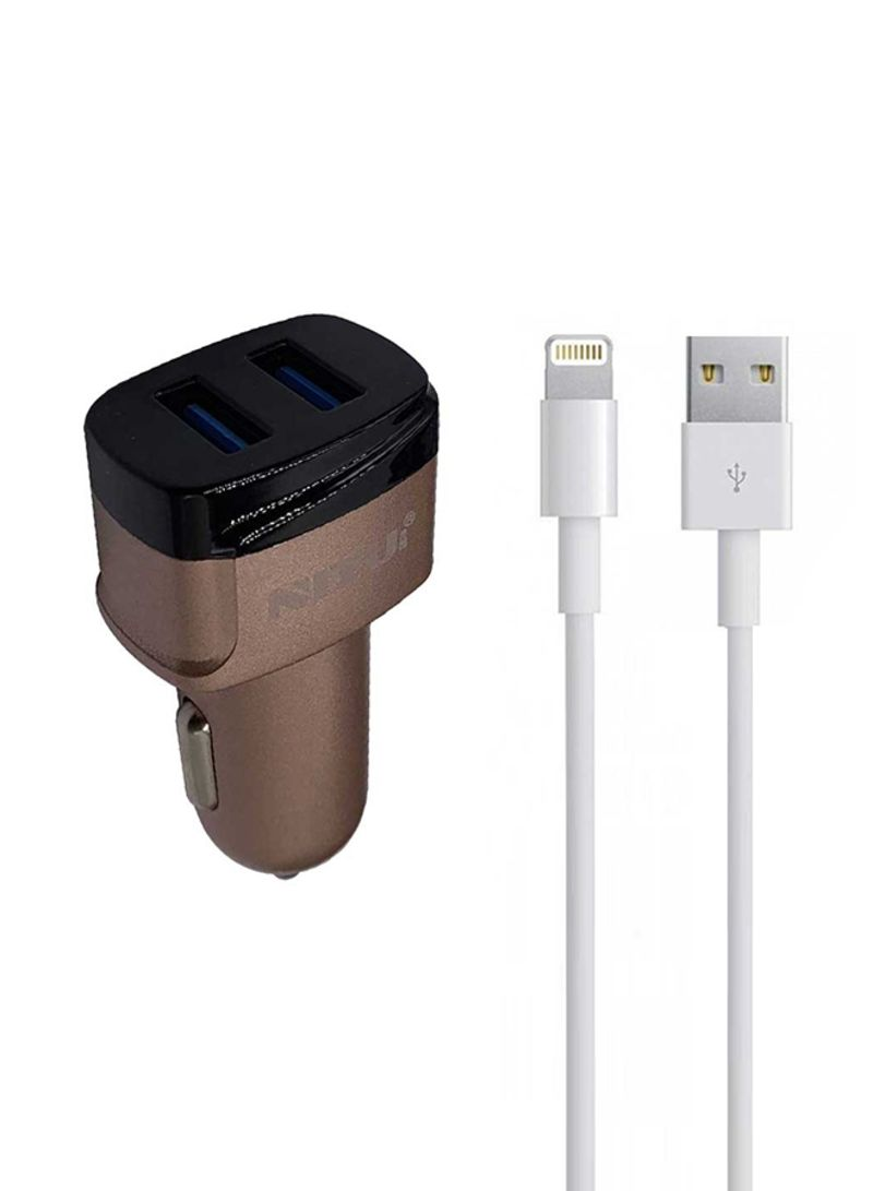 Dual USB Car Charger With Lightning USB Cable