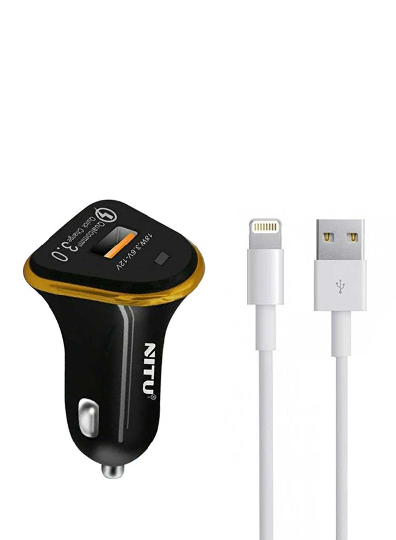 Quick Charge Car Charger With Lightning USB Cable