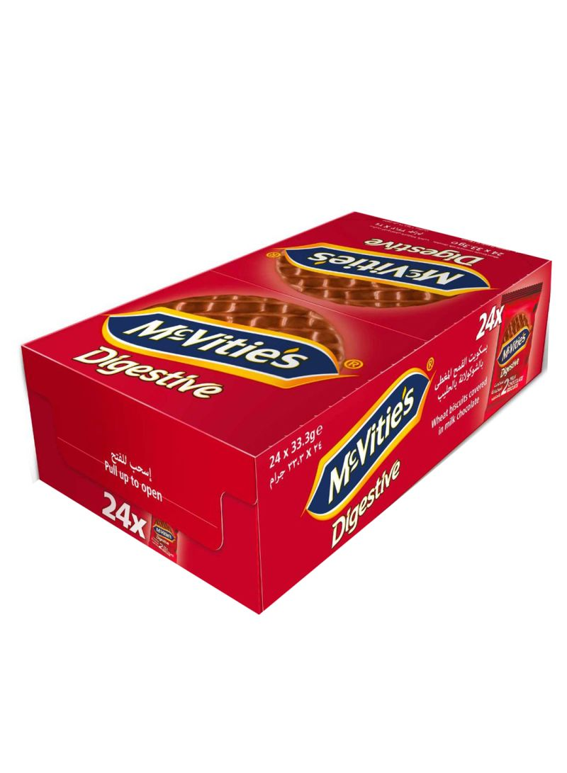 Pack Of 24 Digestive Wheat Biscuits Covered In Milk Chocolate 24 x 33.3 g