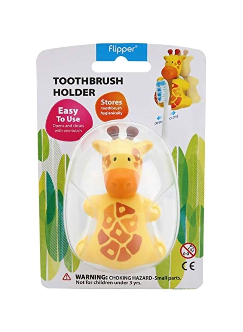 Giraffe Design Toothbrush Holder Yellow/Brown