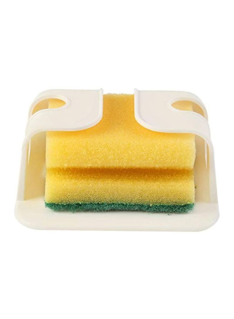 Sponge Holder With Pot Cleaning Tools And Accessories White/Yellow
