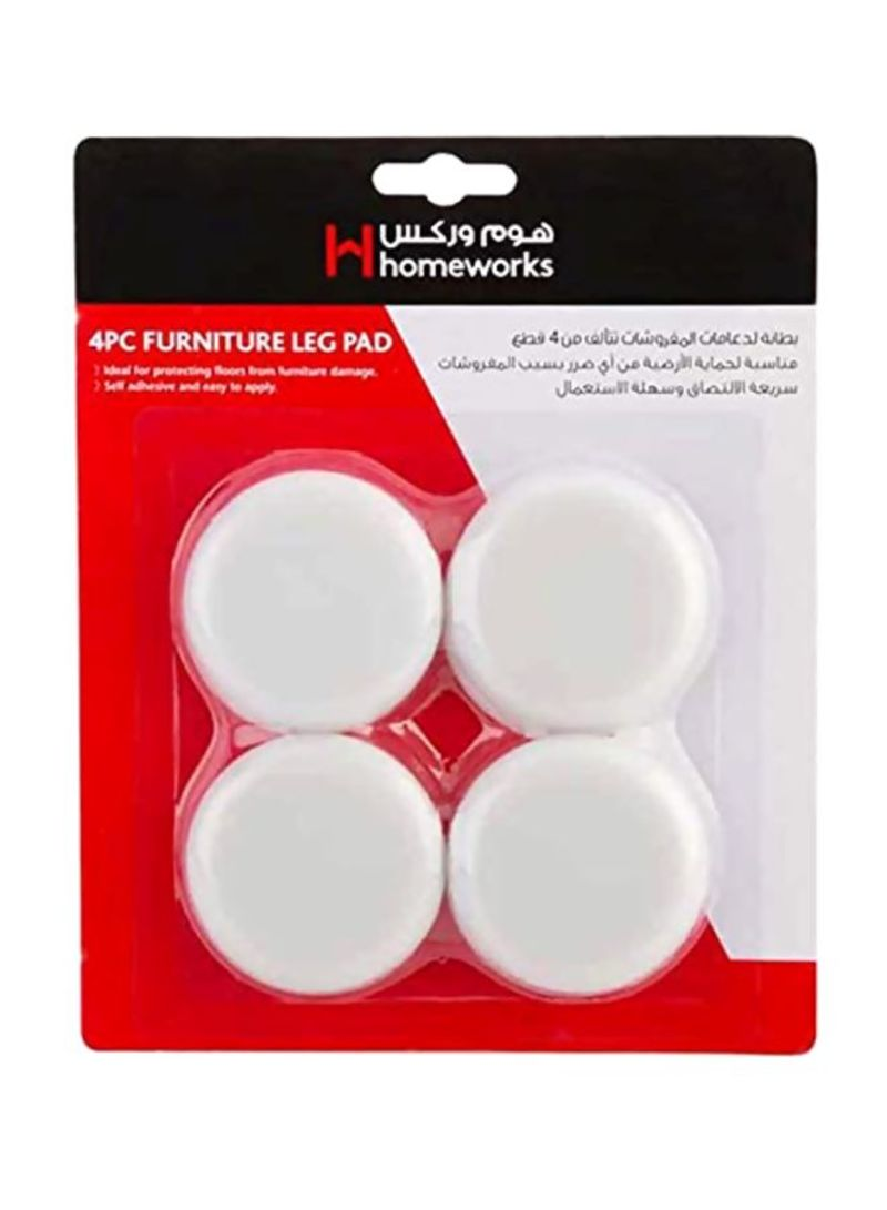 4-Piece Furniture Pads White 60 millimeter