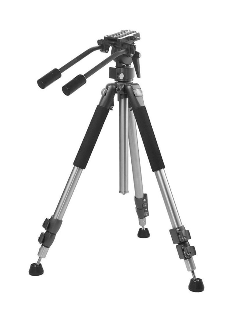 Professional Dual Handle Aluminum Tripod For Canon EOS Rebel SL2 Black/Silver