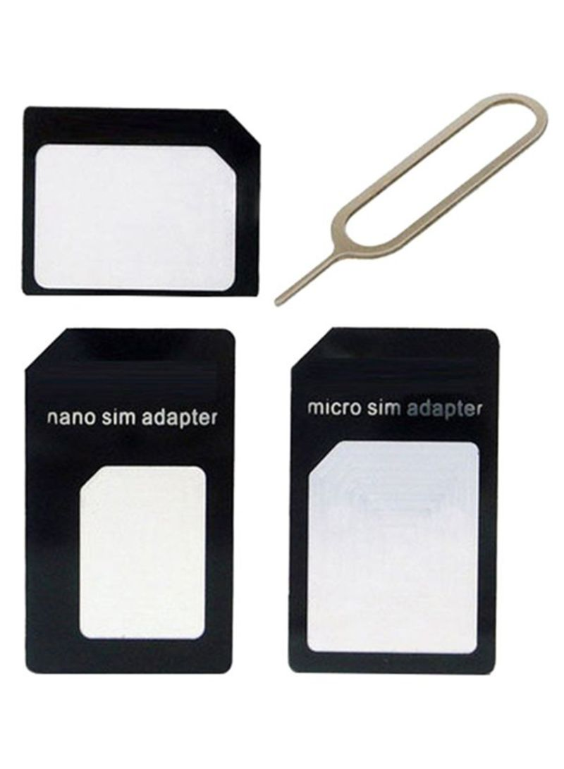 4-In-1 Nano To Micro SIM Card Adapter With Ejecter Pin Gold/Black