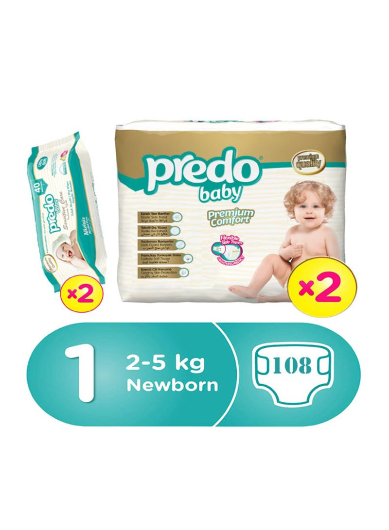 Premium Comfort Diapers, Size 1, Newborn, 2-5 kg, 108 Count With Pack of Sensitive Care Wipes