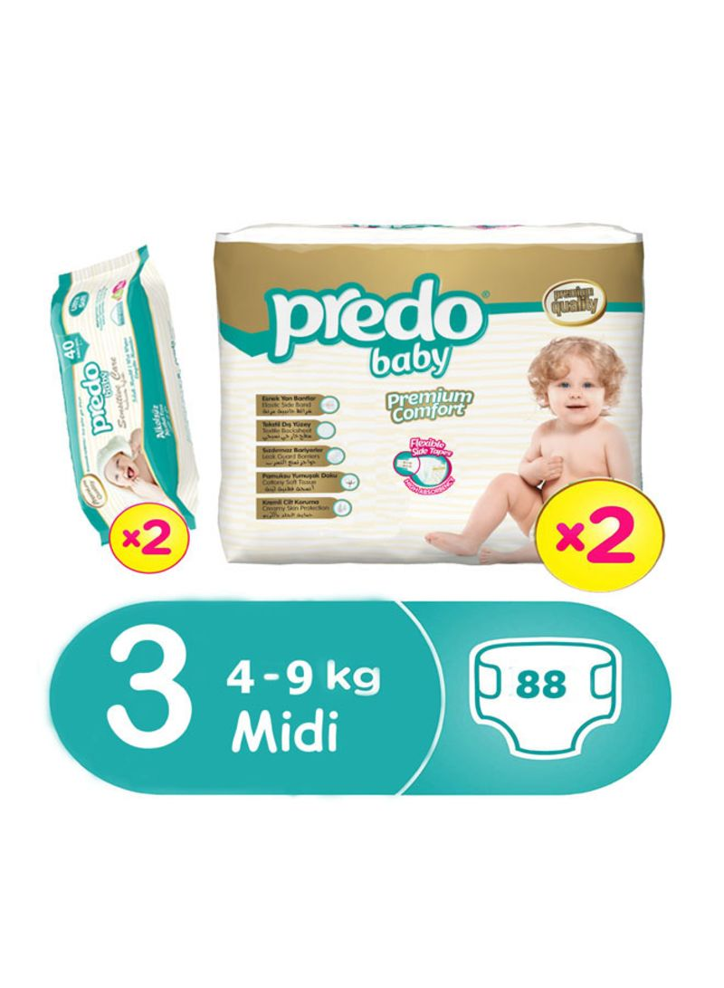 Premium Comfort Diapers, Size 3, Midi, 4-9 kg, 88 Count With Pack of Sensitive Care Wipes