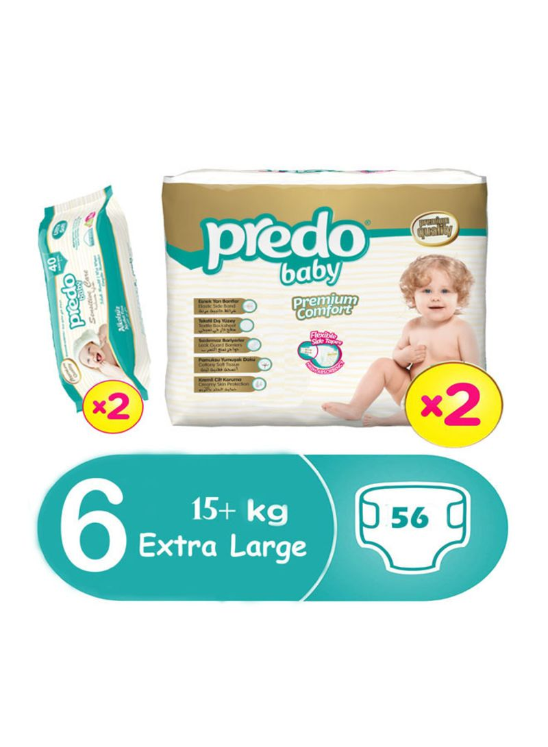 Premium Comfort Diapers, Size 6, Extra Large, 15+ kg, 56 Count With Pack of Sensitive Care Wipes