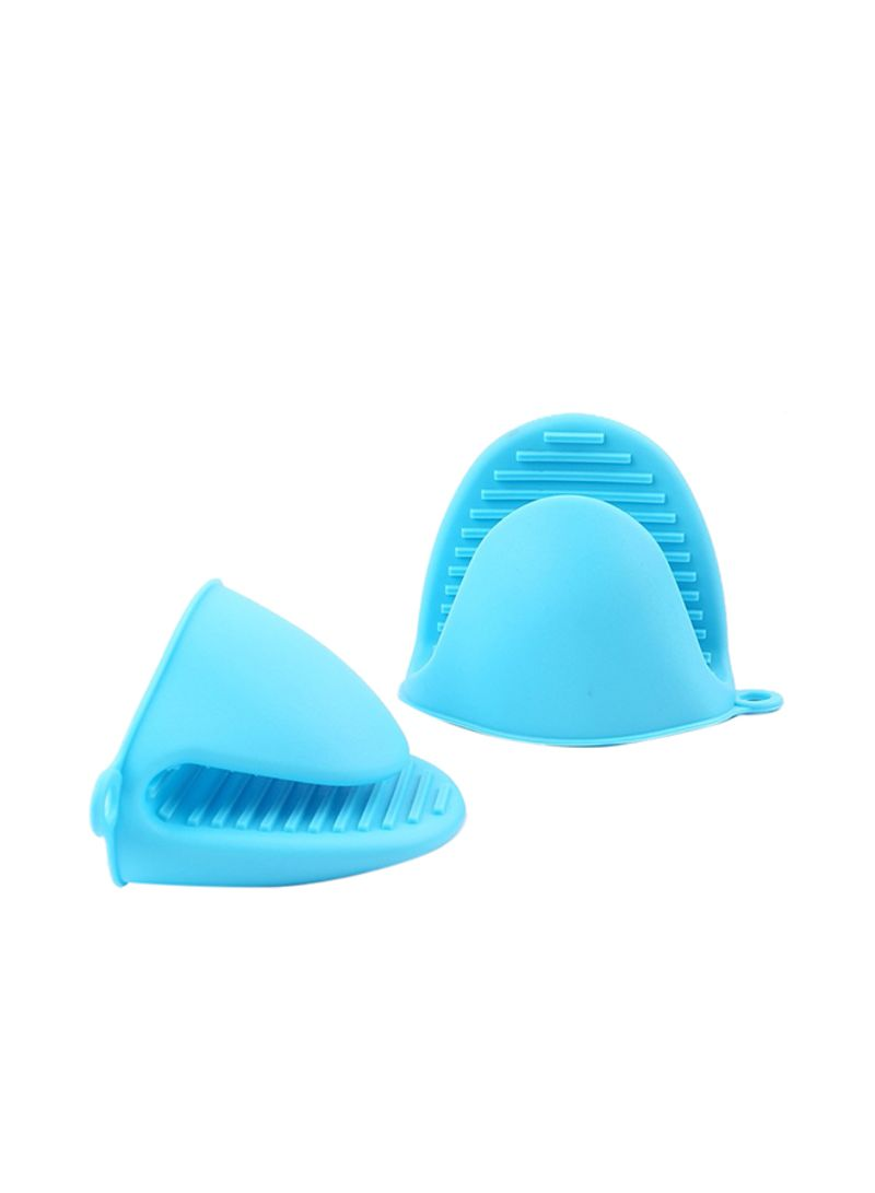 2-Piece Silicone Pot Plate Clips Microwave Oven Gloves Set Blue Standard