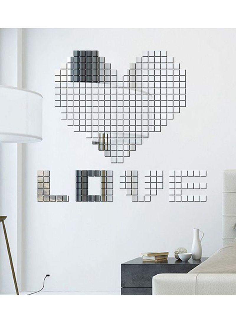 100-Piece Mini Square 3D Wall Mirror Sticker Set Silver