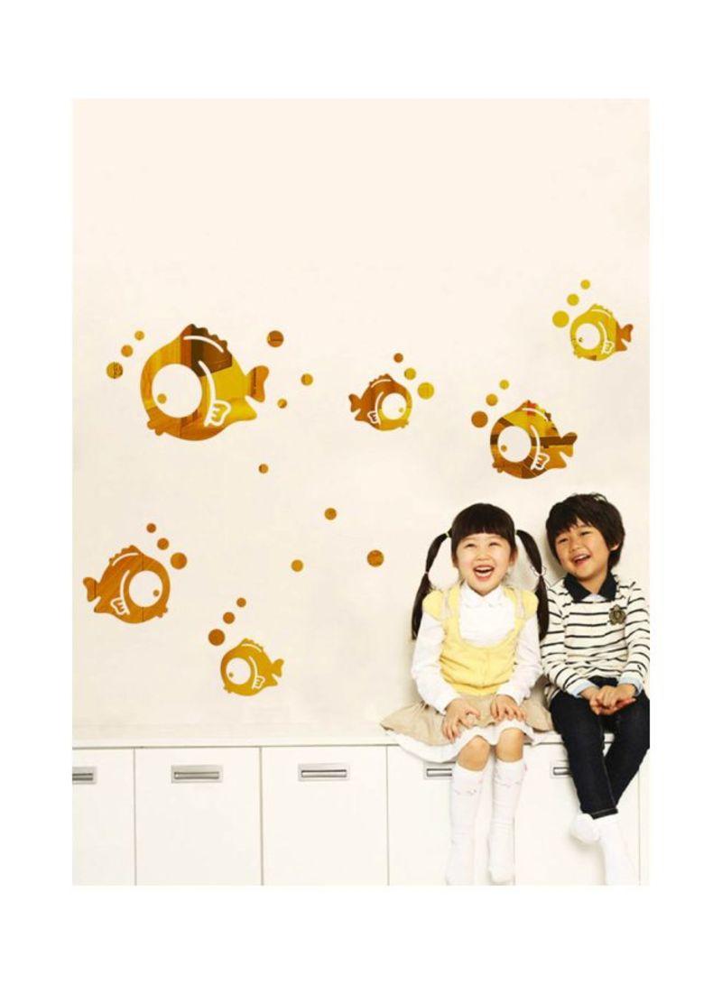 3D Mirror Fish Wall Sticker Gold 40x60 centimeter