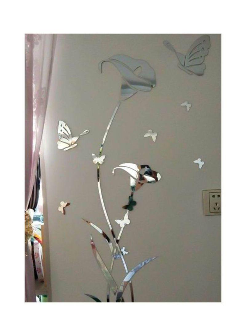 3D Mirror Flower Wall Sticker Clear 40x60 centimeter
