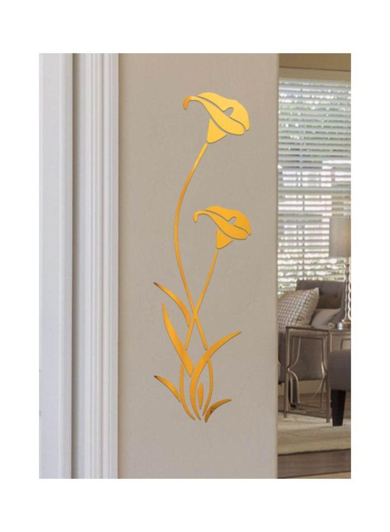 3D Mirror Flower Wall Sticker Gold 40x60 centimeter