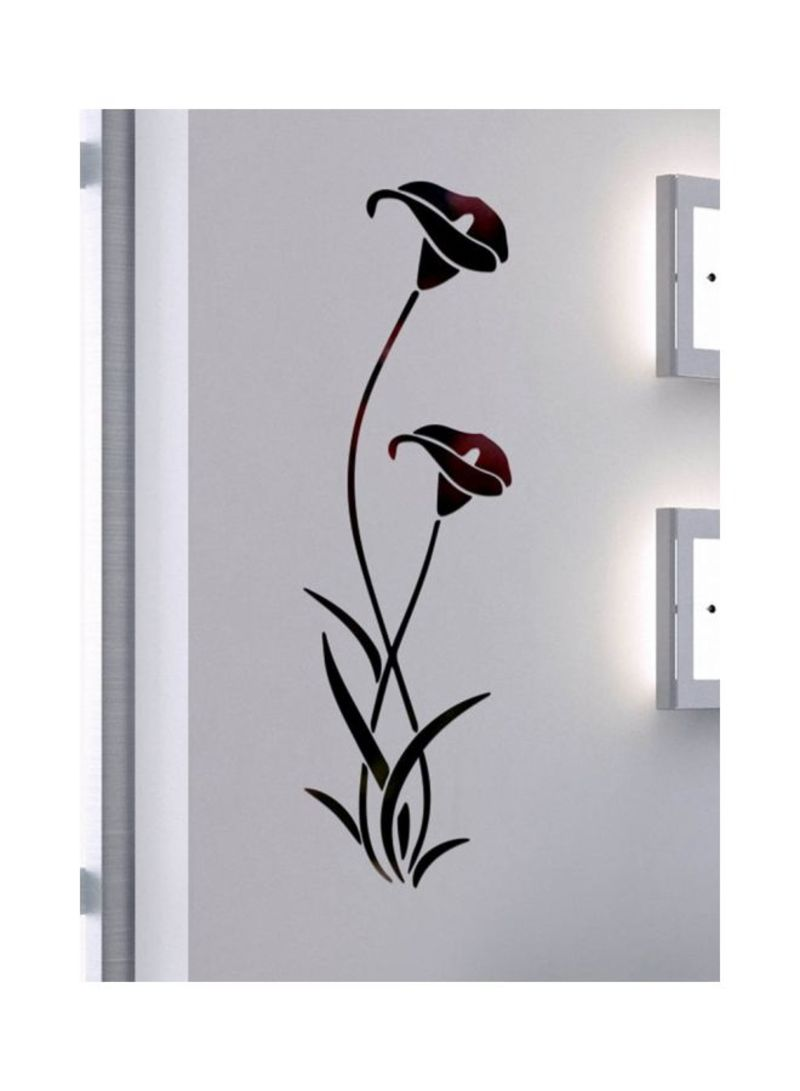 3D Mirror Flower Wall Sticker Black/Purple 40x60 centimeter