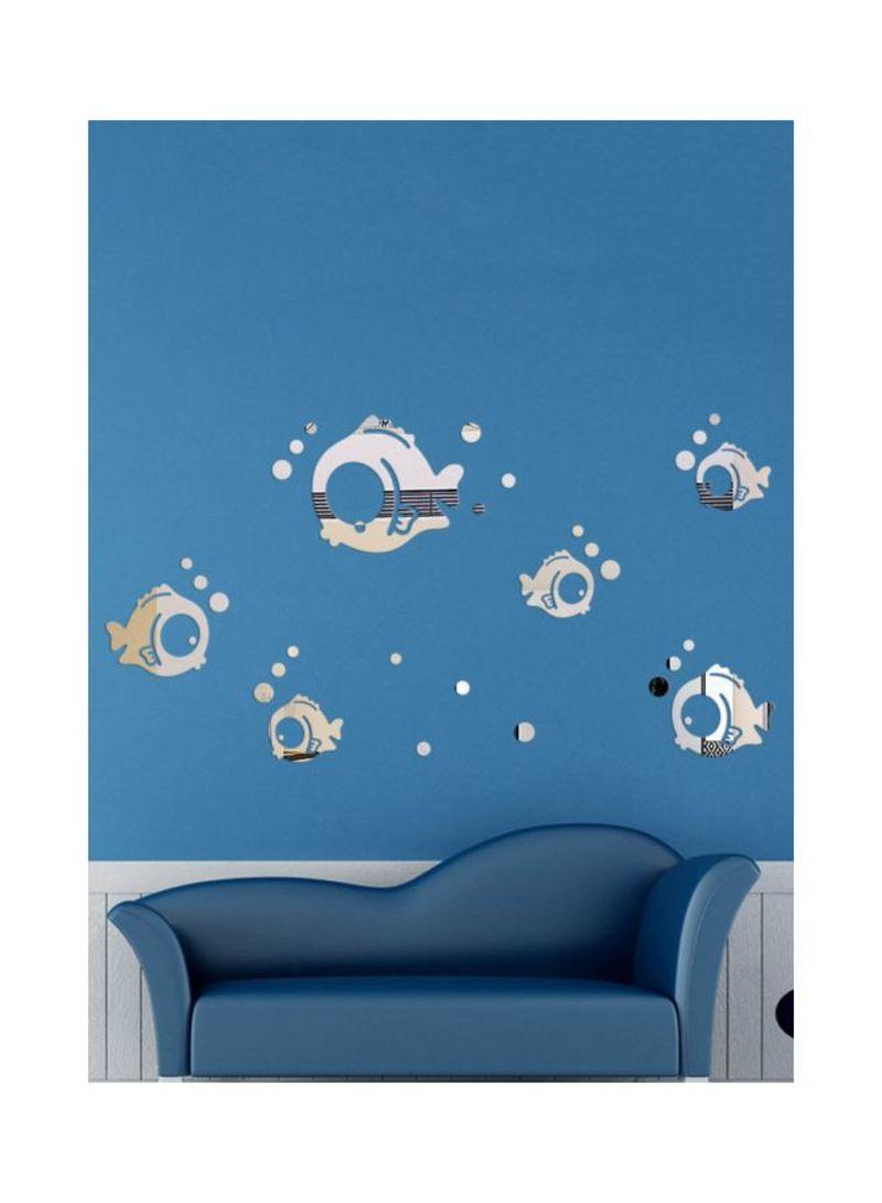 3D Mirror Fish Wall Sticker Clear/Silver 40x60 centimeter