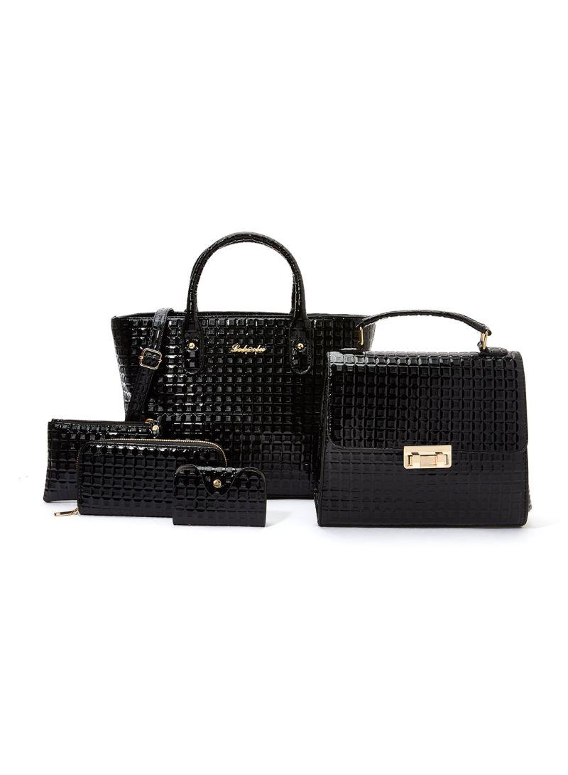Set Of 5 Textured Handbags