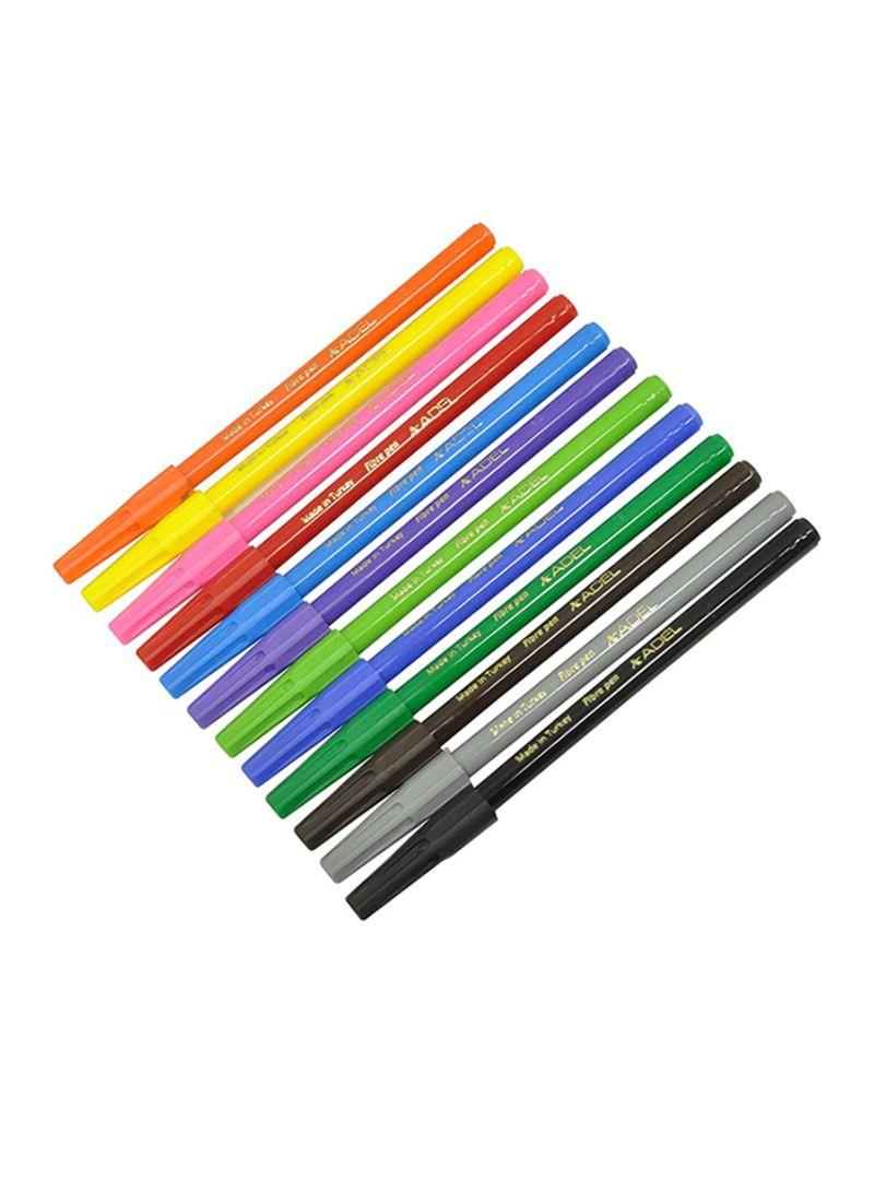 12-Colors Fibre Tip Pens Multicolour