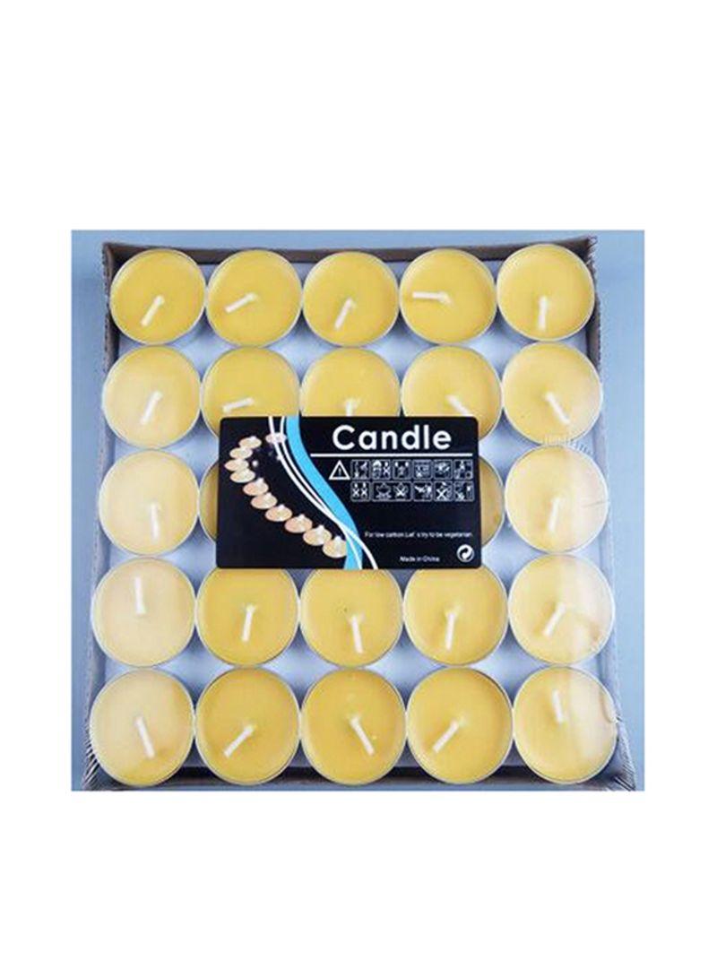 50-Piece Unscented Tealight Candles Set Yellow 20x8x20 centimeter