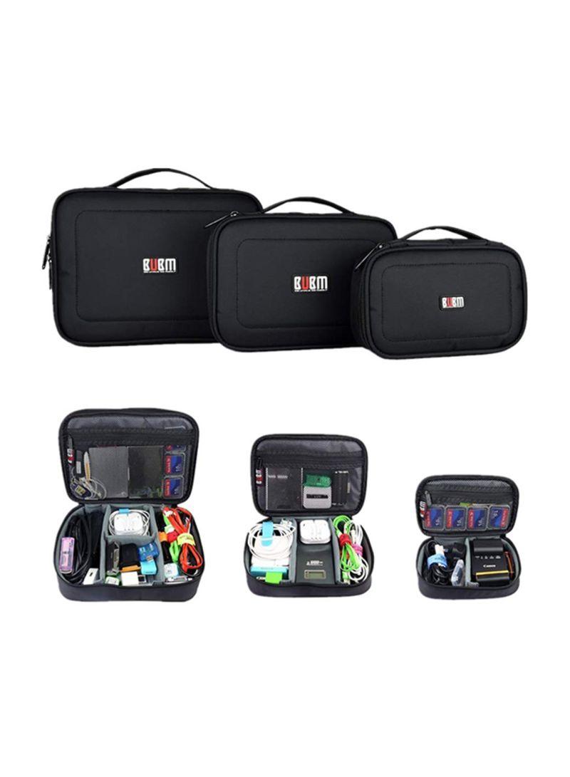 3-Piece Electronics Accessories Travel Organizer Case Black