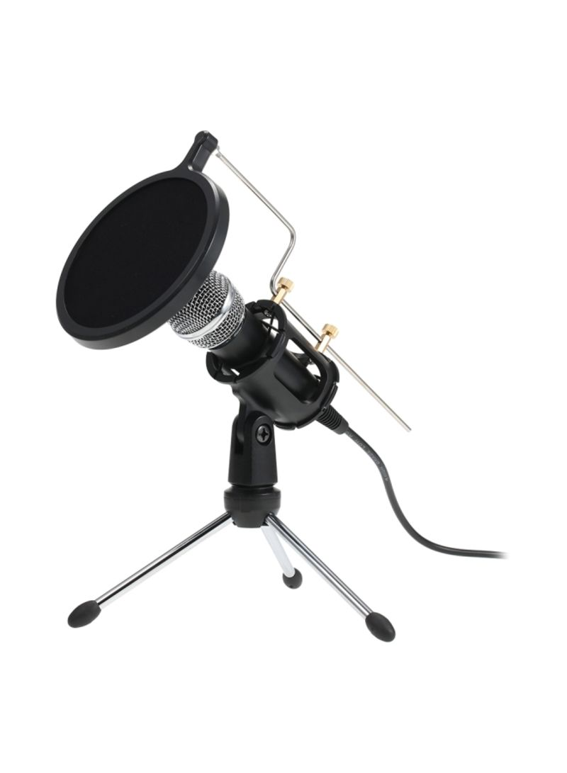 Professional Condenser Microphone With Mini Mic Stand Dual-Layer Acousticfilter