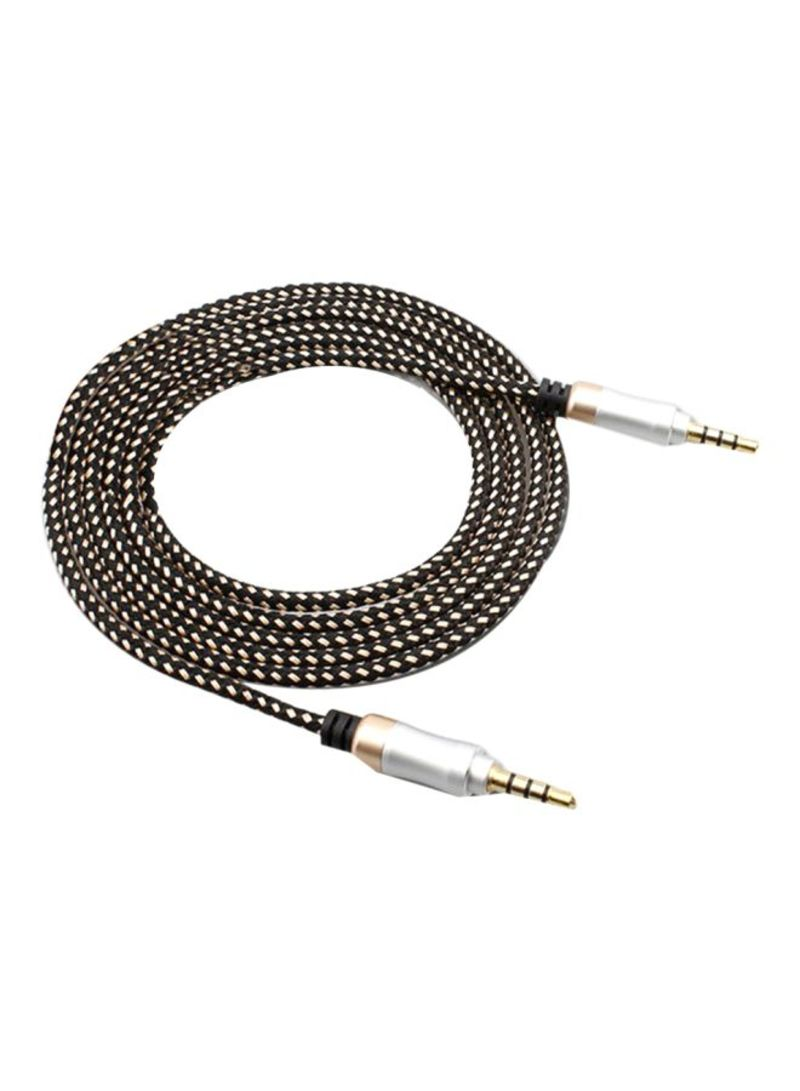 Car Aux Audio Cable Black/Gold/White 1.5 meter