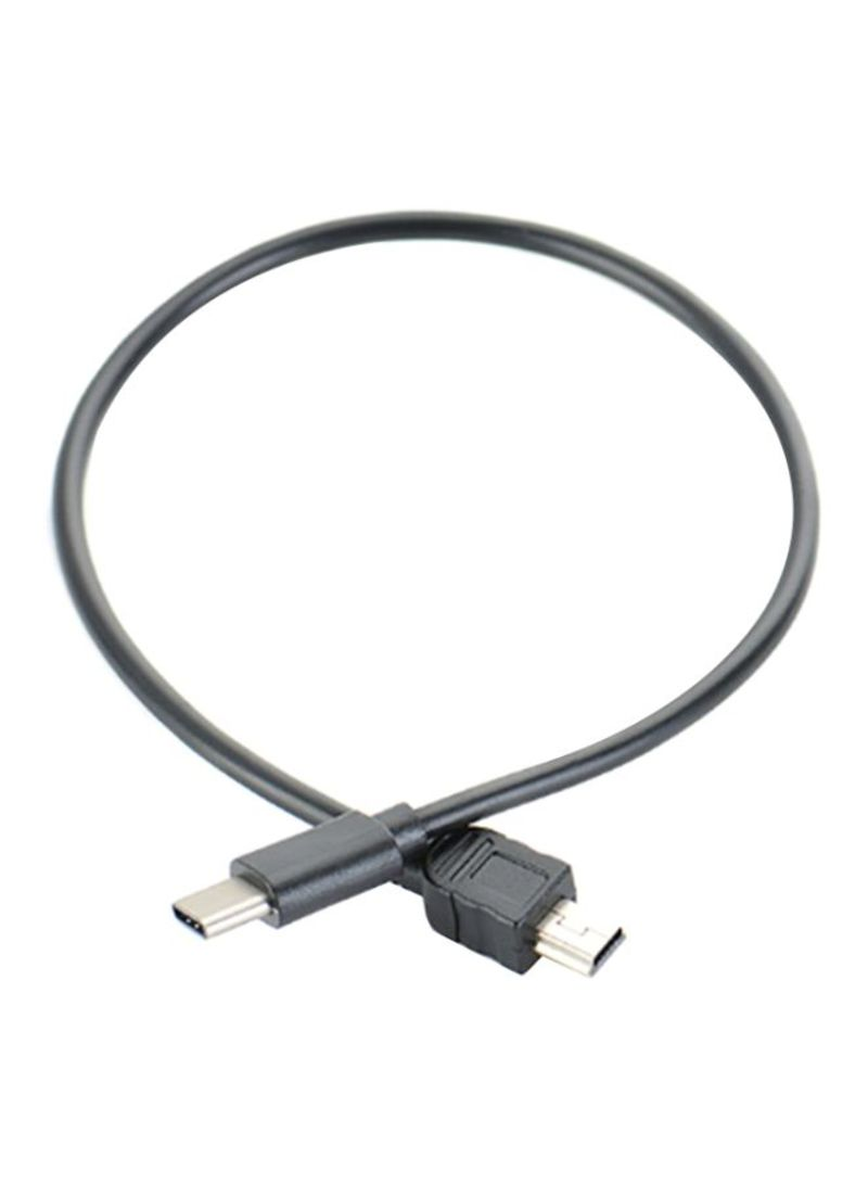 Portable Male To USB Type C Data Cable Grey 30 centimeter