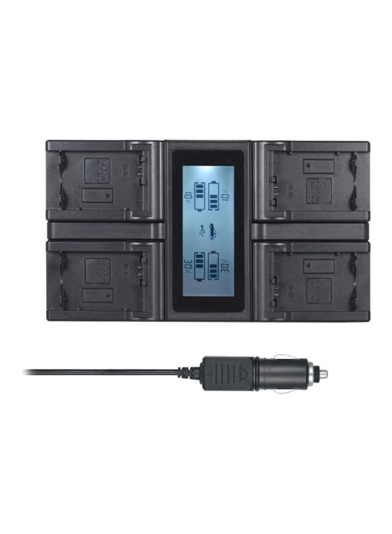 4-Channel Digital LCD Display Camera Battery Charger For Sony NP-FW50 Battery Black