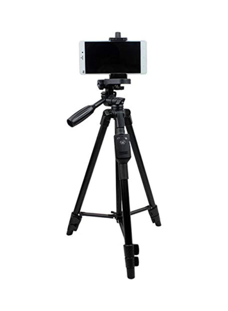 Tripod Stand With Wireless Remote Control Shutter Black