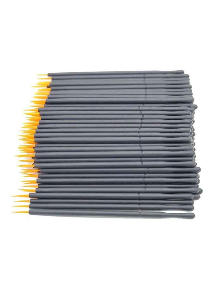 100-Piece Disposable Eyeliner Brush Set Yellow/Black