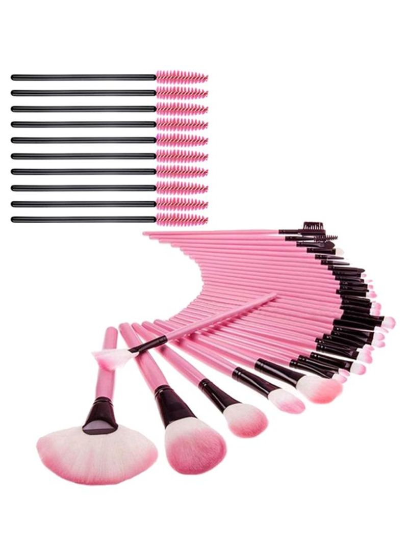 32-Piece Makeup Brush Set With Mascara Applicator Pink/Brown
