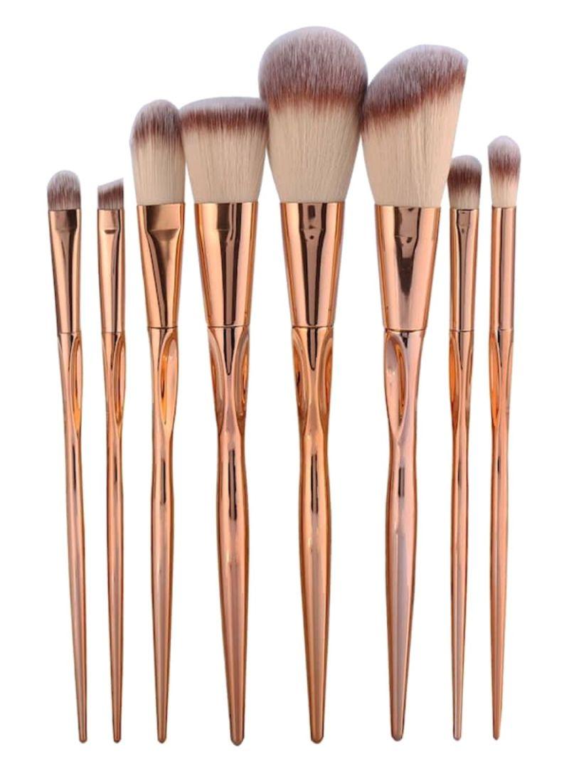 8-Piece Eyeshadow Makeup Brush Set Rose Gold/Brown