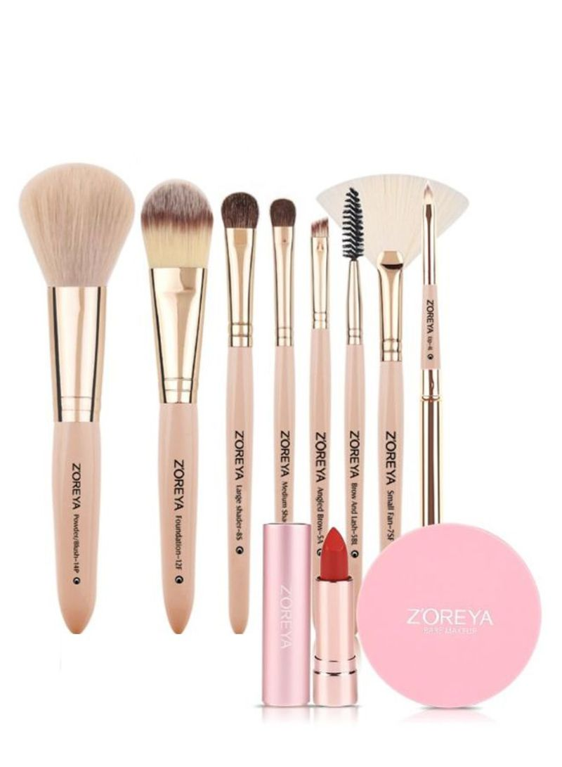 8-Piece Professional Makeup Brush Set With Lipstick And Powder Pink/Beige/Gold