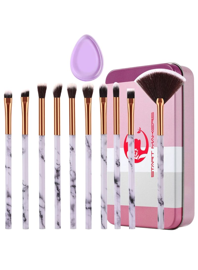 10-Piece Eyeshadow Brush Set With Box And Puff Multicolour