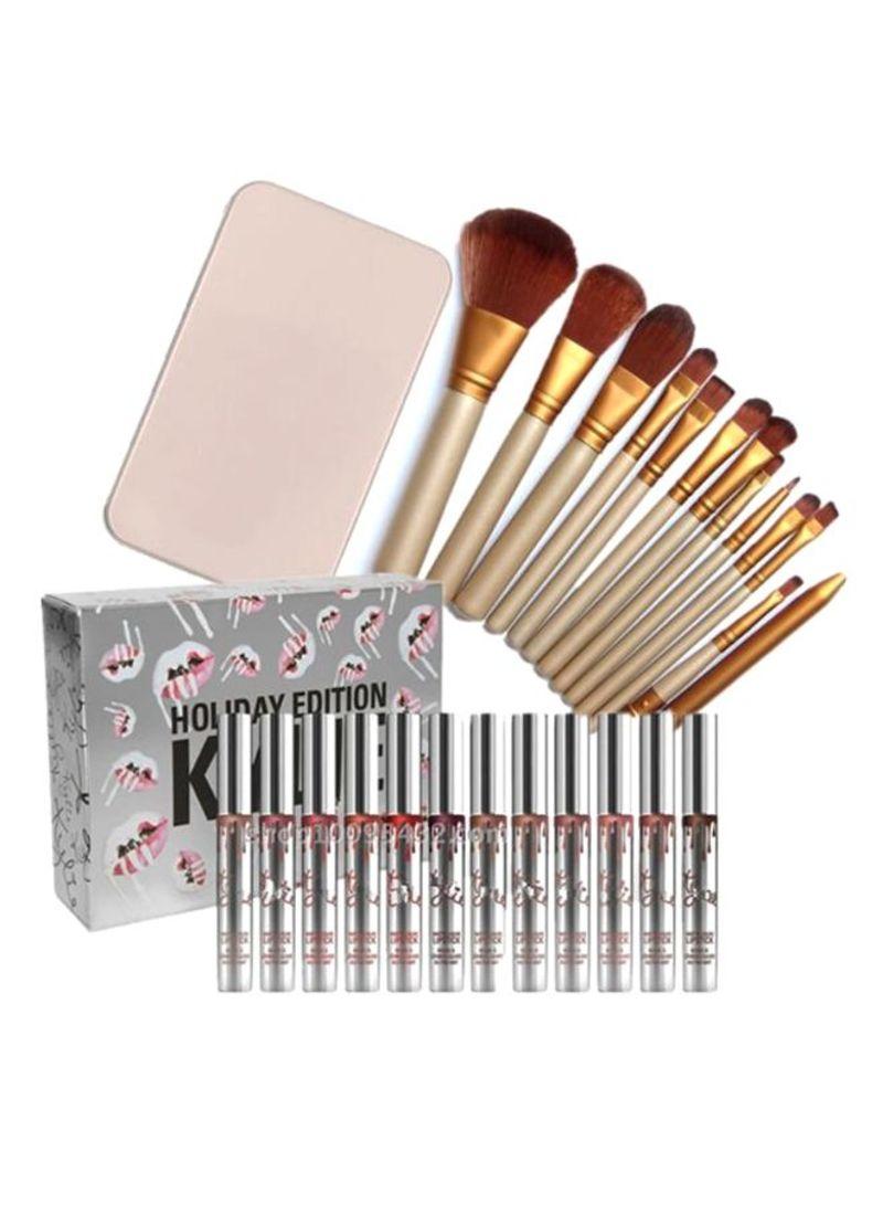 12-Piece Makeup Brush Set With Matt Lip Gloss Multicolour