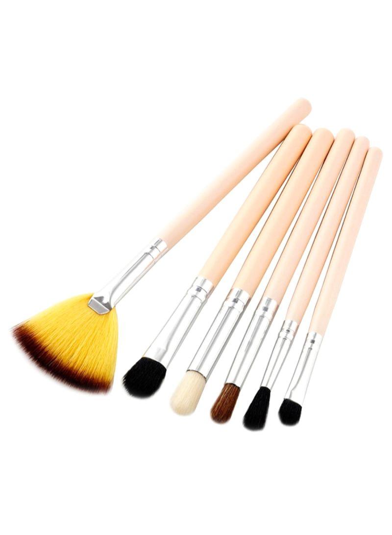 6-Piece Eyeshadow Makeup Brush Set Beige/Silver