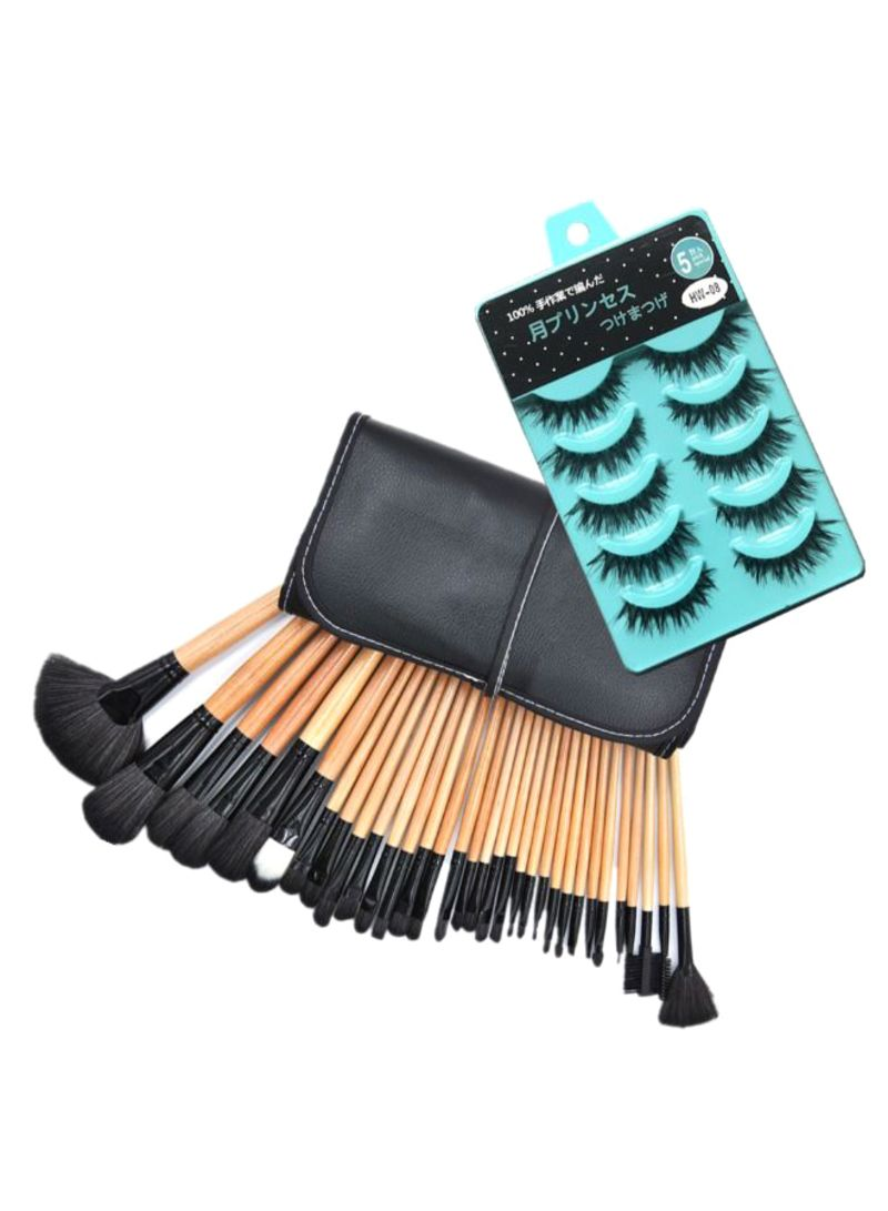 37-Piece Makeup Brush Sets With 5-Pair Curly Artificial Eyelashes Beige/Black