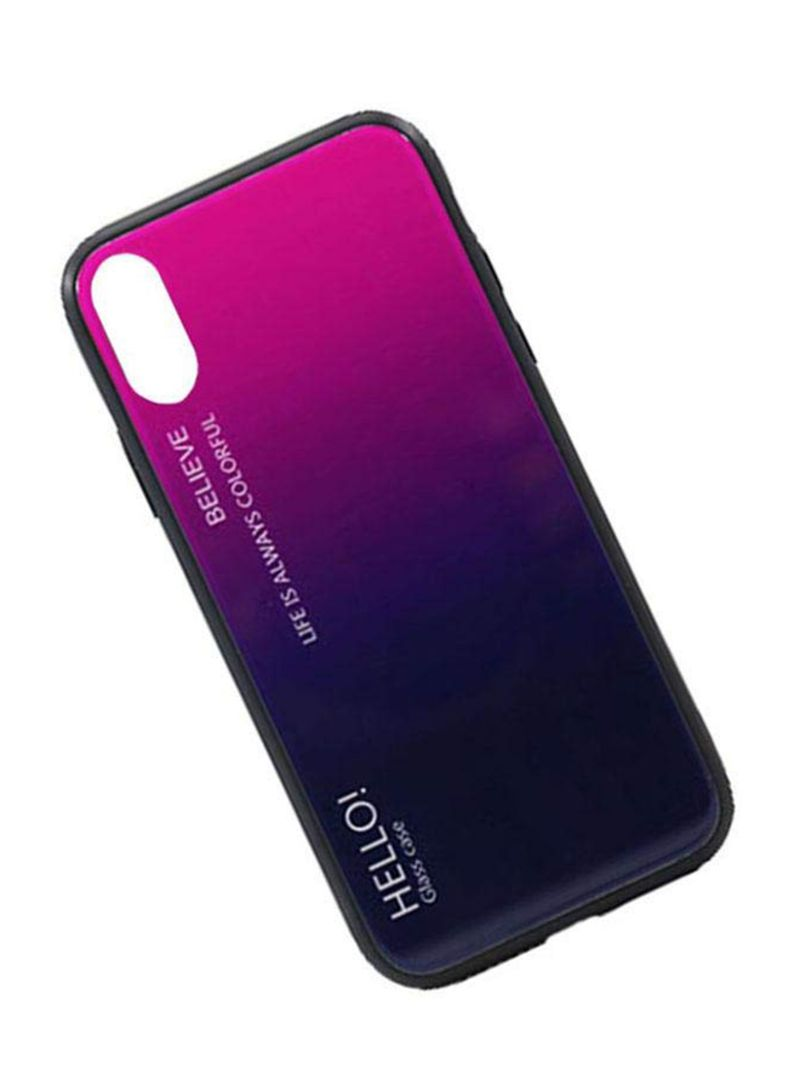 Printed Gradient Tempered Glass Case Cover For Apple iPhone XS Purple/Blue