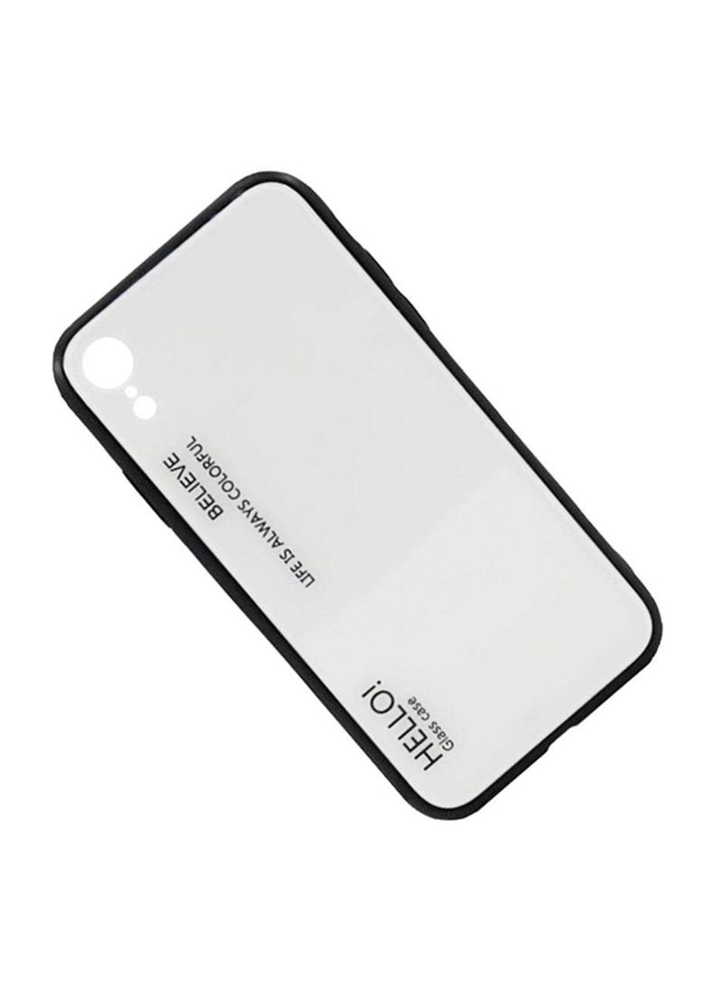Printed Gradient Tempered Glass Case Cover For Apple iPhone XR White