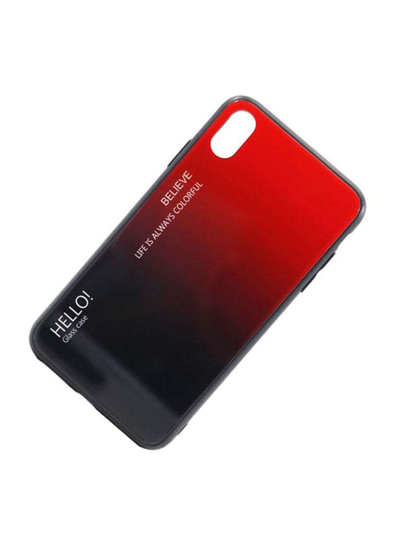 Printed Gradient Tempered Glass Case Cover For Apple iPhone XS Max Red/Black