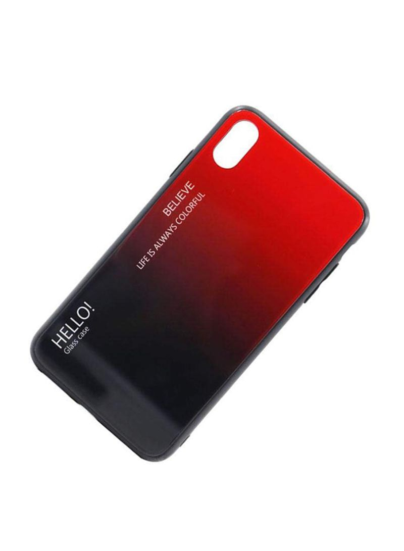 Printed Gradient Tempered Glass Case Cover For Apple iPhone XS Red/Black