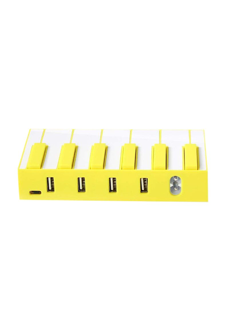 4-Port USB Piano Charging Dock Station Yellow