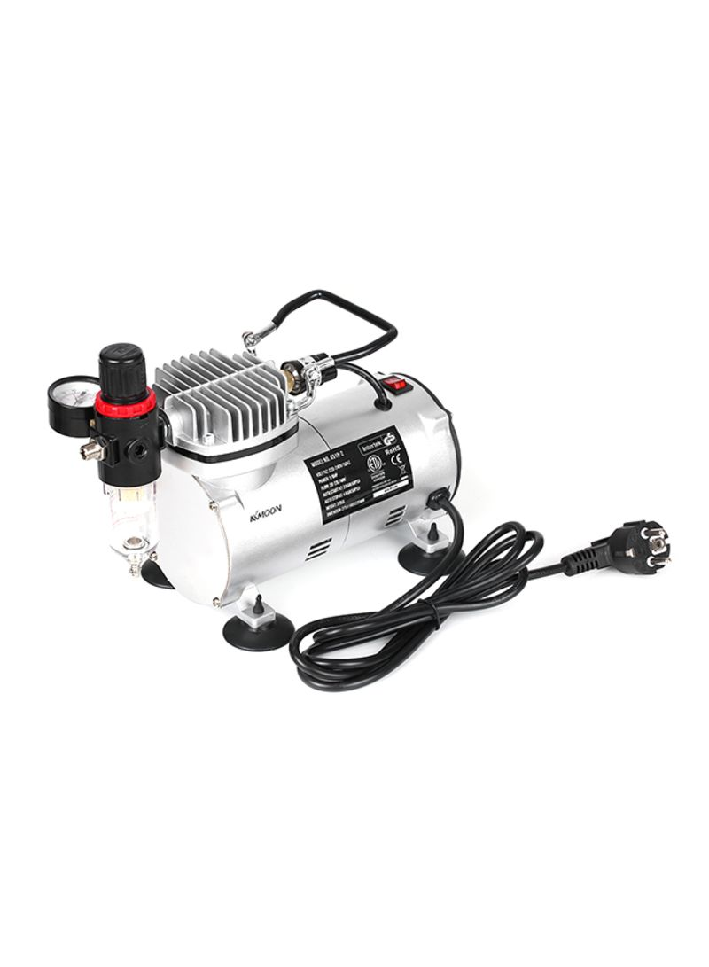 Dual-Action Professional Mini Air Compressor Silver 24.5x13.5x17 centimeter