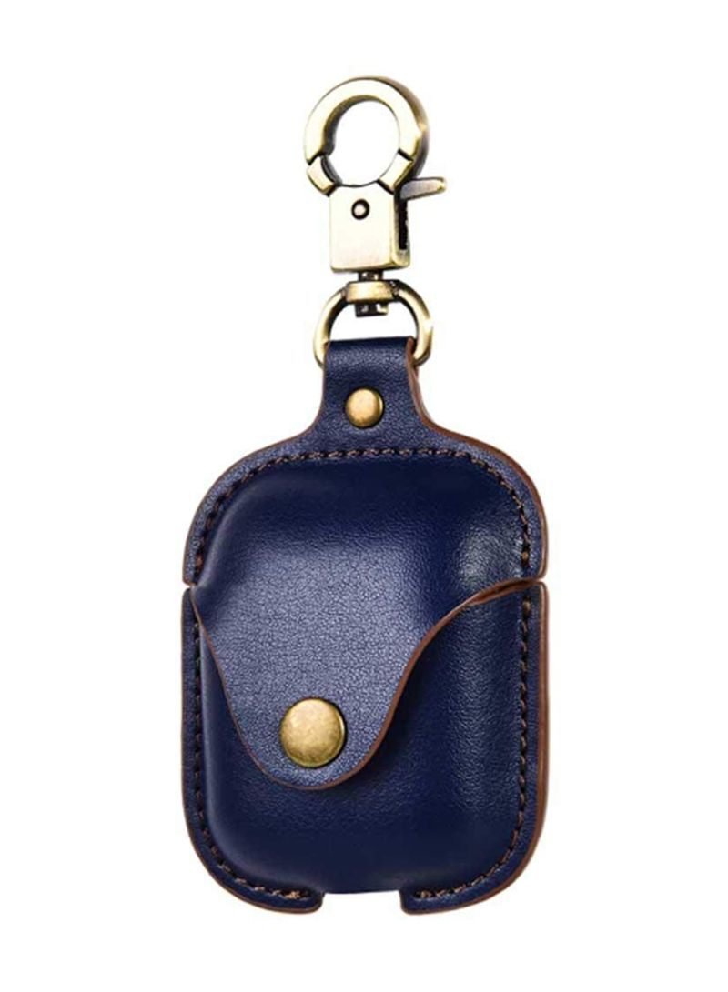 Leather Skirt With Hook  For Apple Airpod Blue/Gold