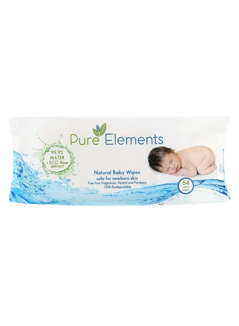 Natural Wipes With Aloe, 64 Count