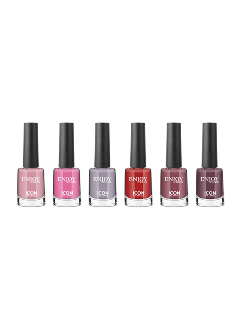 6-Piece Icon Enamel Nail Polish Set Multicolour