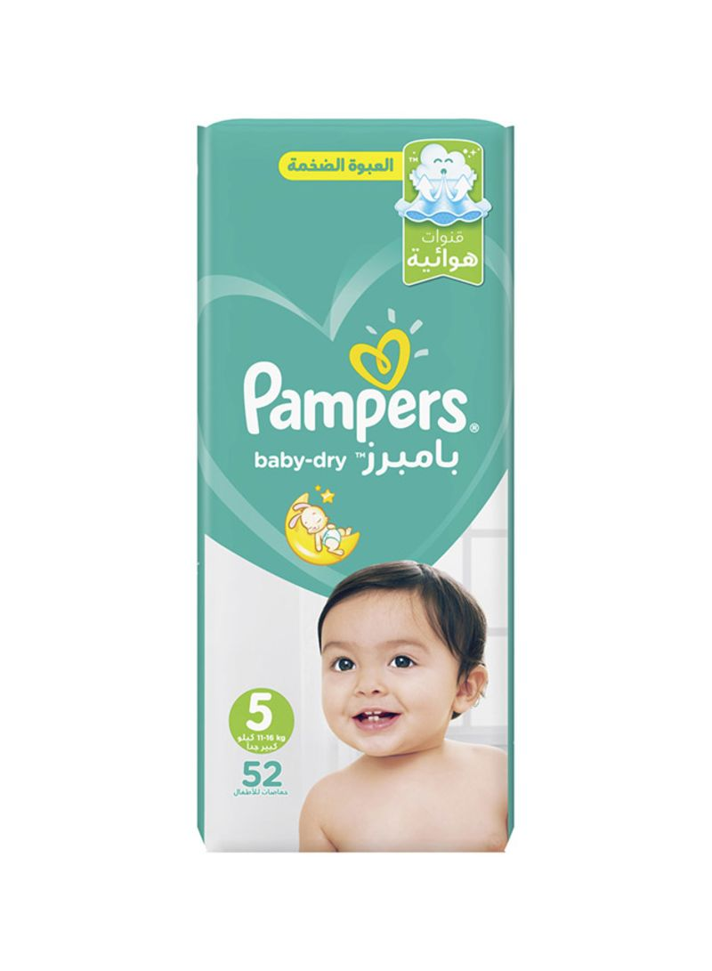 Pampers Baby-Dry Diapers, Size 5, Junior, 11-16kg, Mega Pack, 52 Count