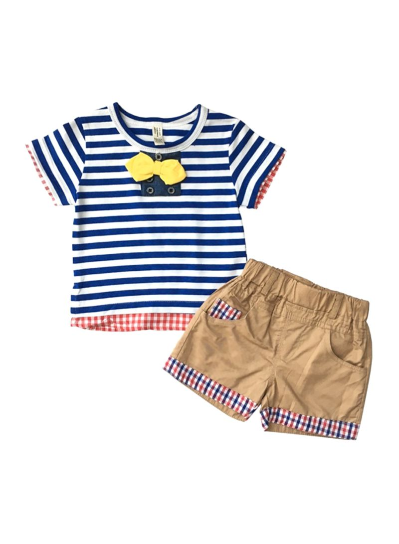 Check T-shirt And Shorts Set Multicolour