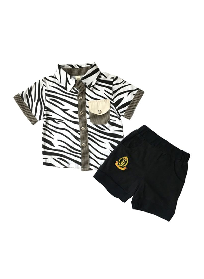 Zebra Design Shirt And Shorts Set Multicolour