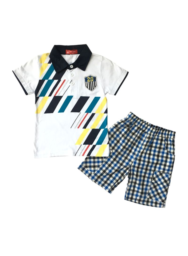 Digital Lining Shirt And Shorts Set Multicolour