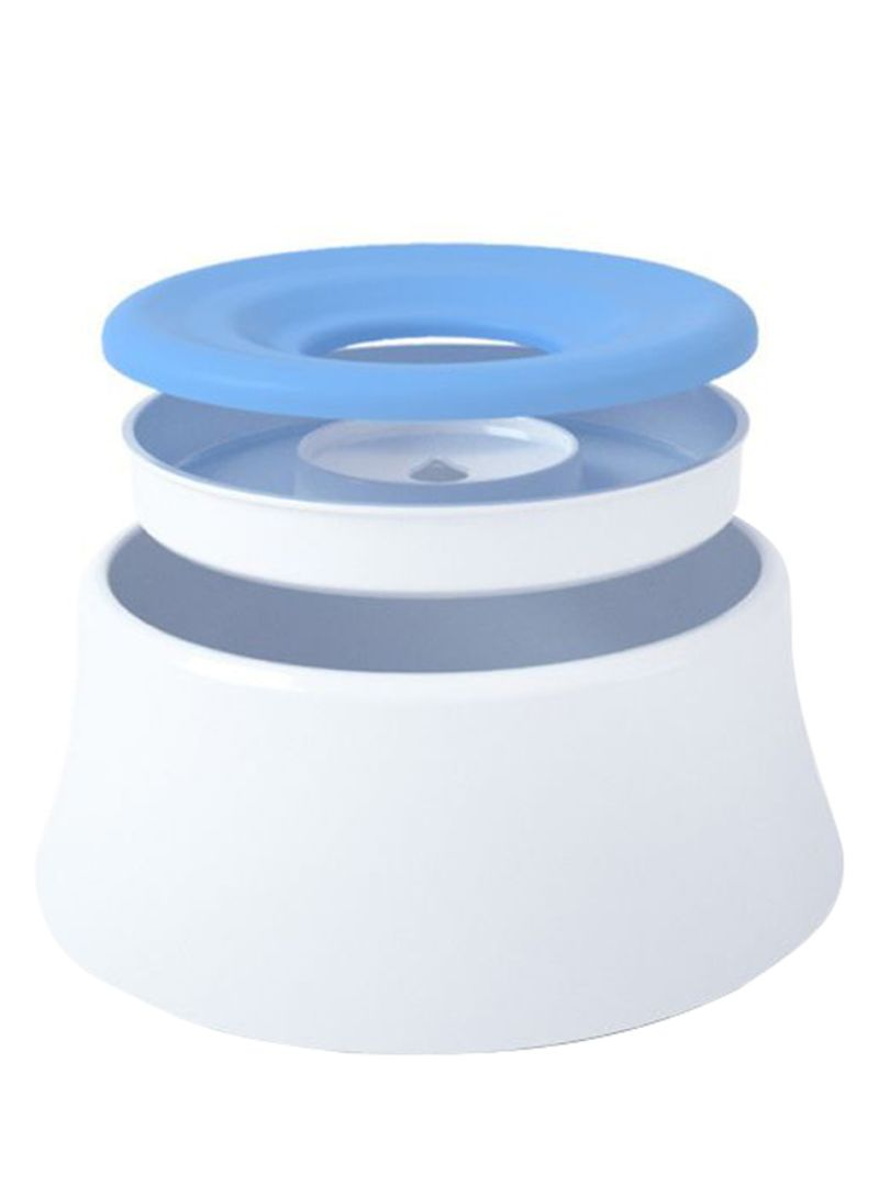 Spill-Proof Water Bowl With Floating Disk White/Blue